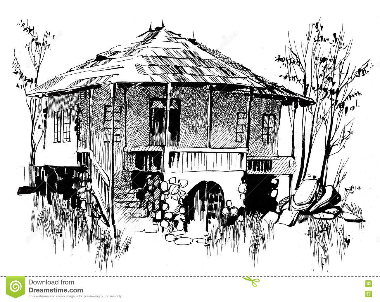 Ink Hand Drawing Countryside Landscape With An Old House Stock ... for Countryside House Drawing  110zmd