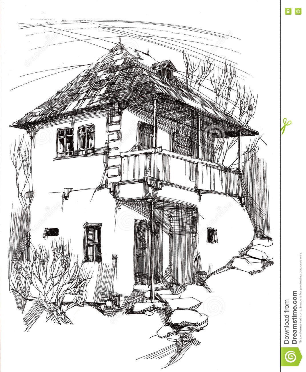Ink Hand Drawing Landscape With An Old House From Romania