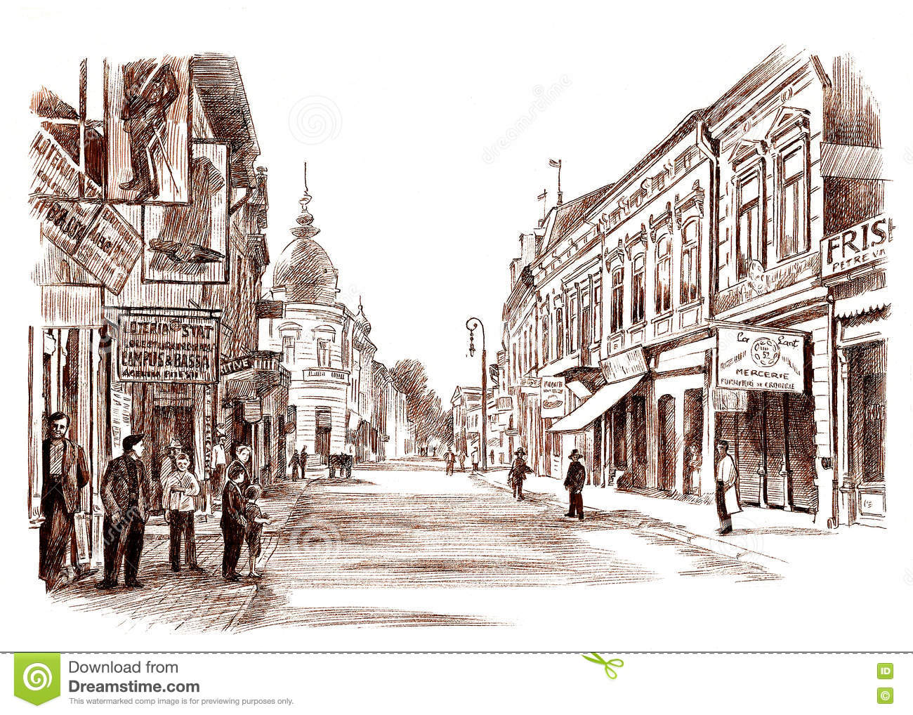 Town Landscape Vector Illustration: Ink Hand Drawing Landscape Of An Old Town From Romania