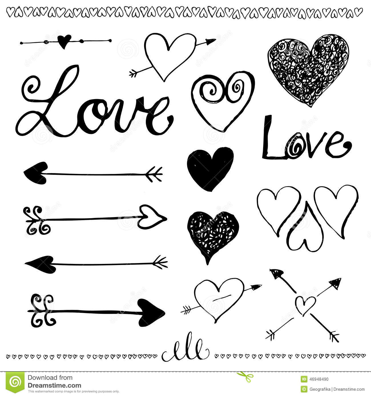 Ink Hand-drawn Doodle Love Set. Heart And Arrow. Stock ...