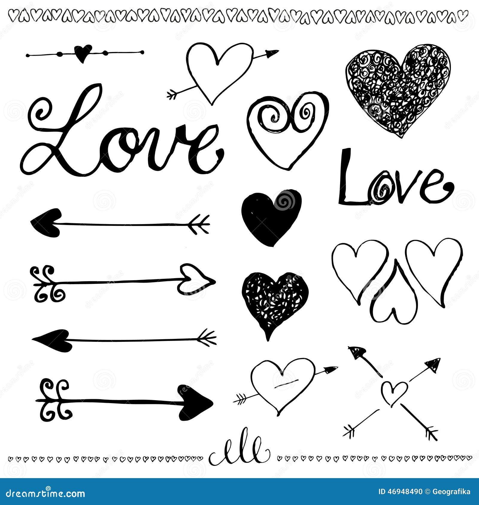 ink hand drawn doodle love set heart and arrow stock. Black Bedroom Furniture Sets. Home Design Ideas