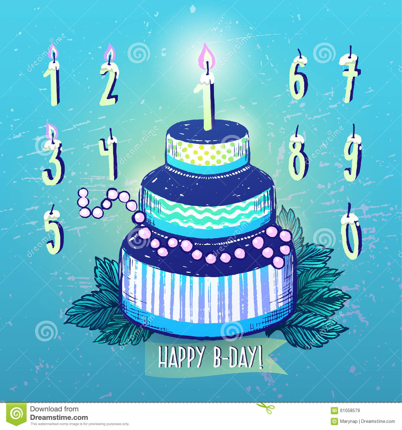 Happy Birthday Cake And Candles Numbers In Blue Color Scheme