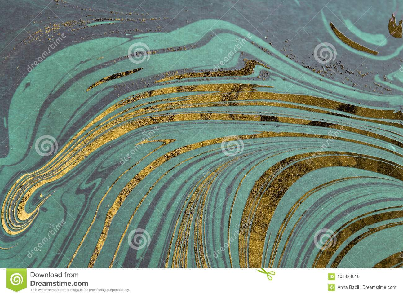 Ink marble texture. Ebru handmade wave background. Kraft paper surface. Unique art illustration. Liquid marbling texture