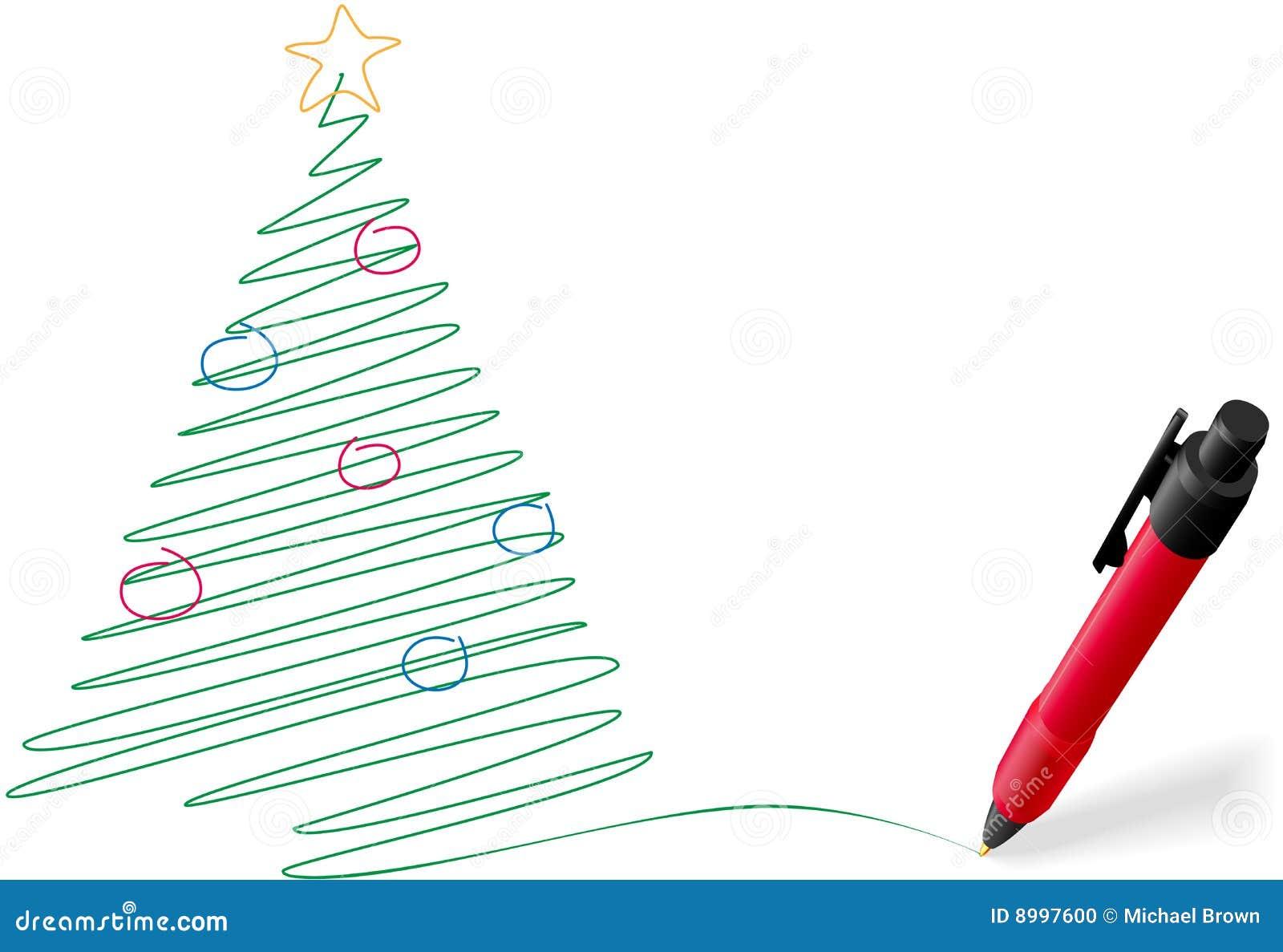 ... Pen Drawing Writing Merry Christmas Tree Stock Photo - Image: 8997600
