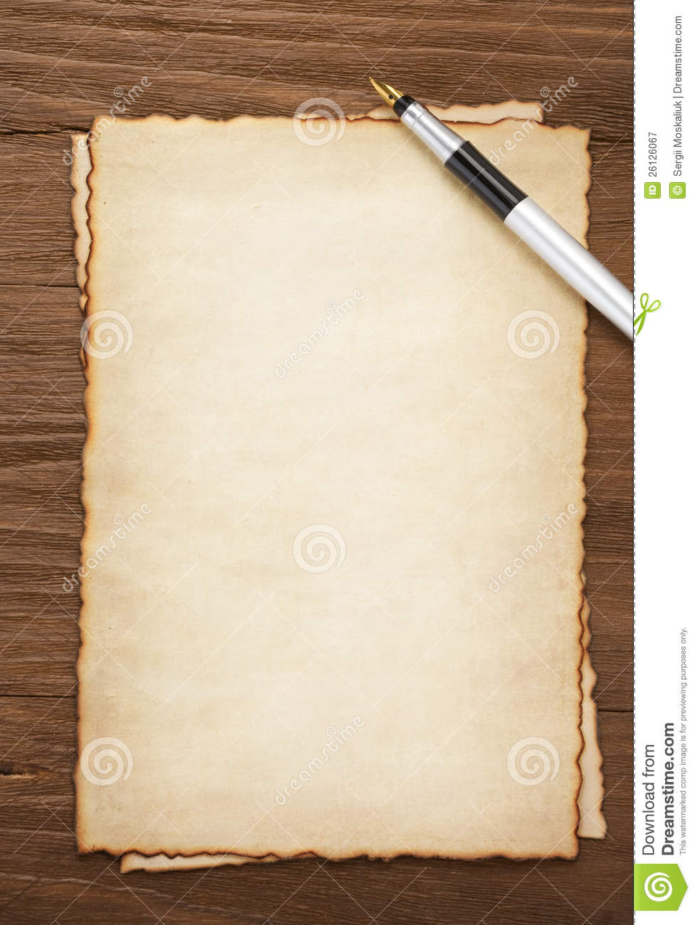Ink Pen On Parchment Background Royalty Free Stock