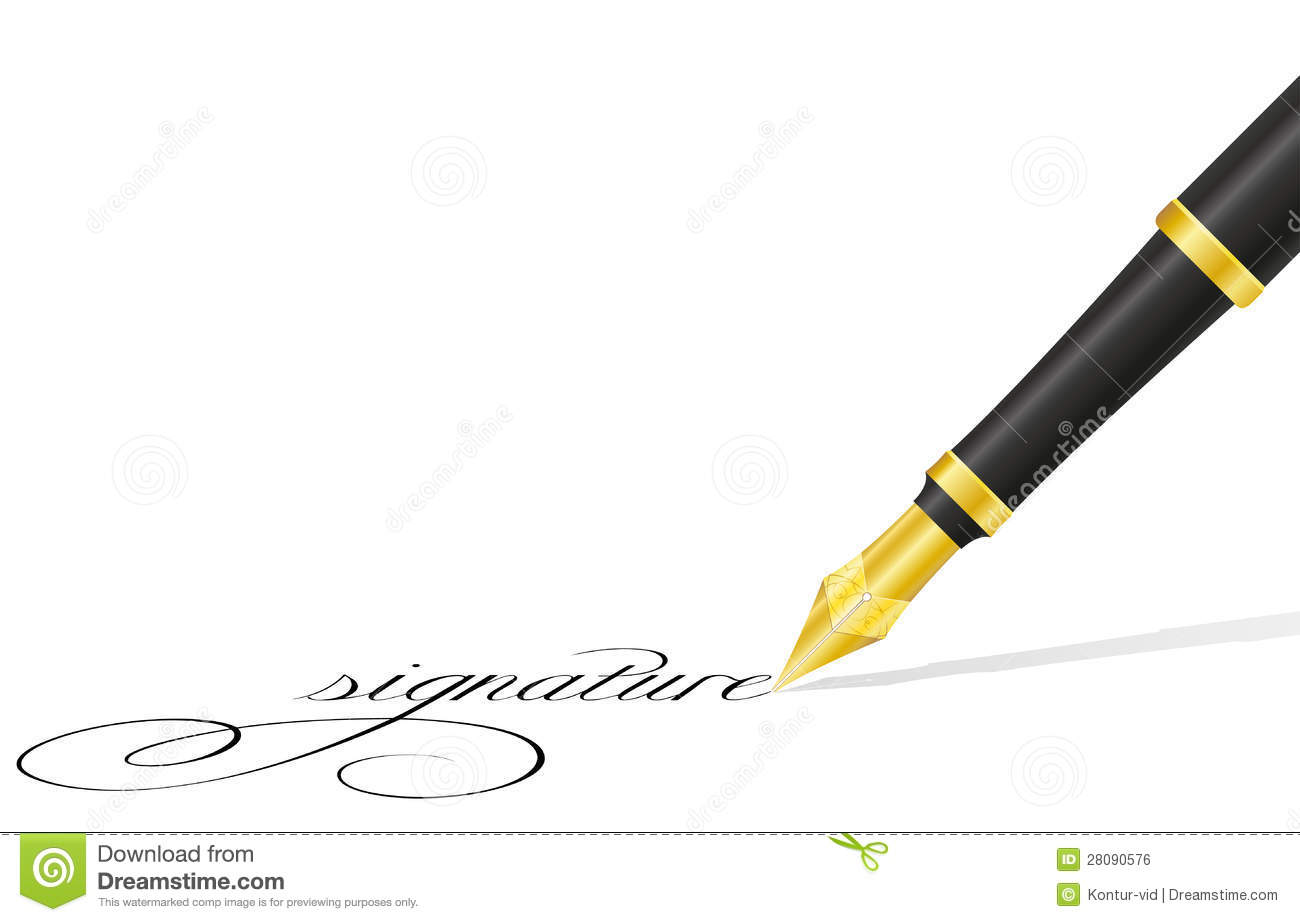 Ink pen and signature vector illustration isolated on white background ...