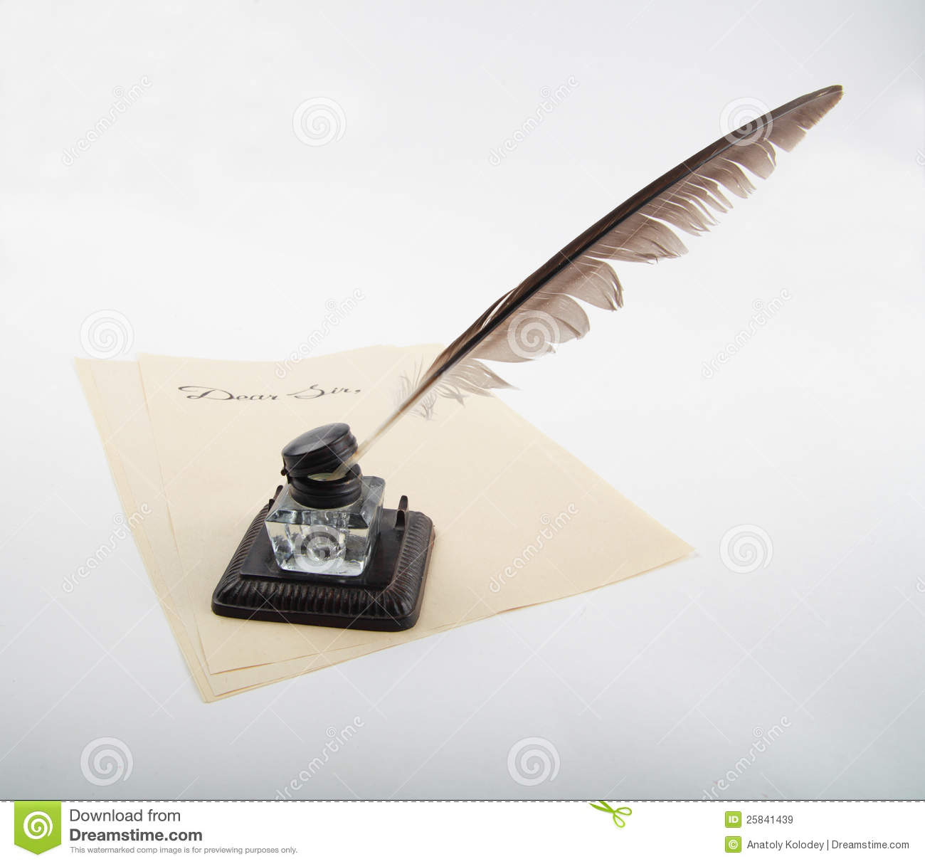 Ink Pot With Goose Quill On Letter Paper Royalty Free ... Quill And Ink Pot