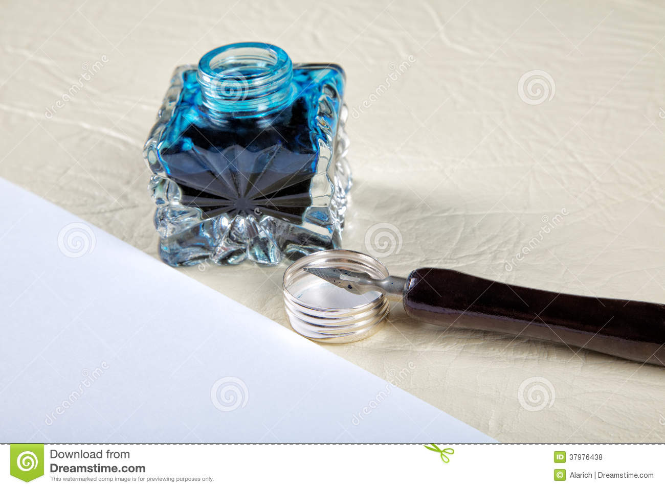 Ink Pot And Quill With Sheets Of Paper Stock Photo - Image ... Quill And Ink Pot Image