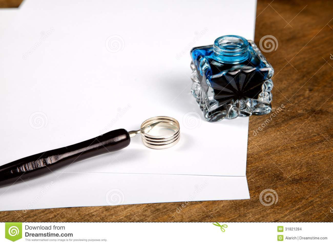 Ink Pot And Quill With Sheets Of Paper Stock Images ... Quill And Ink Pot Image