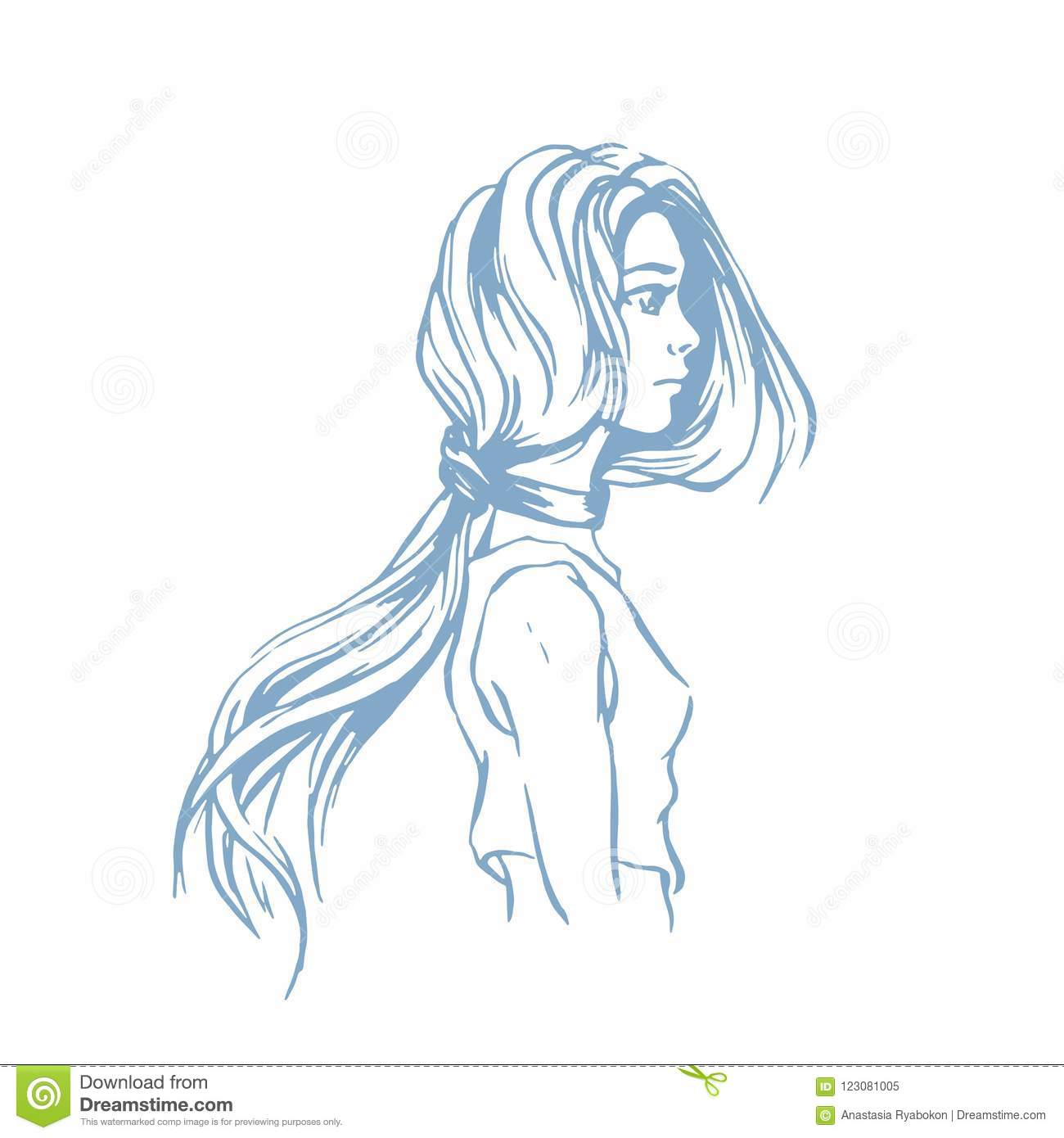 Ink sketch of a beautiful girl with long hair vector