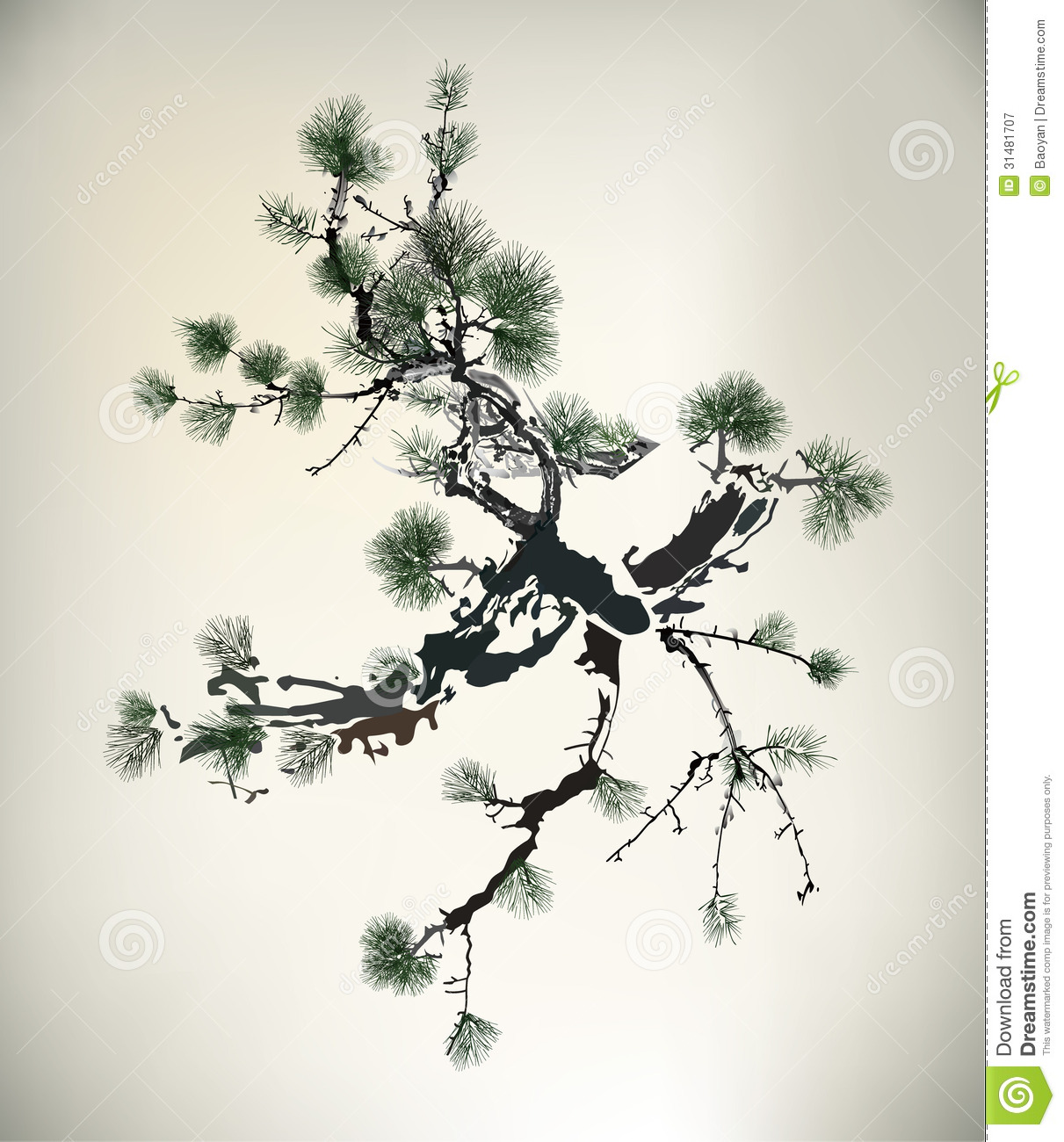 Ink Style Pine ...
