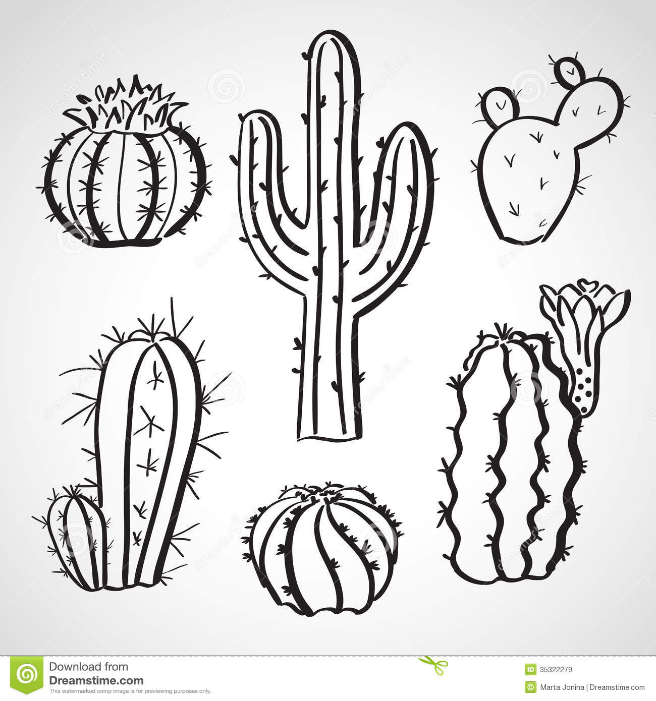 Line Drawing Cactus : Ink style sketch set cactus royalty free stock
