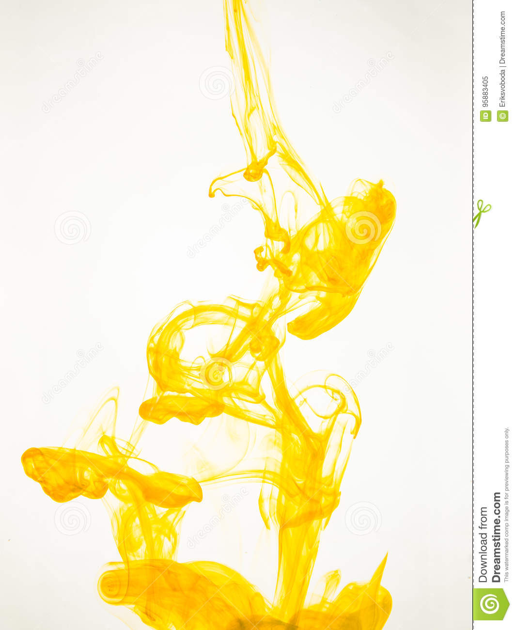 Ink swirl in a water on white background. The paint splash in the water. Soft dissemination a droplets of colored ink in
