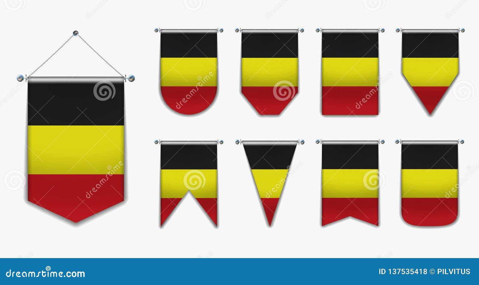 Inkasowe obwieszenie flagi BELGIA z tekstylną teksturą Różnorodność kształty chorągwiany kraj Pionowo szablon banderka