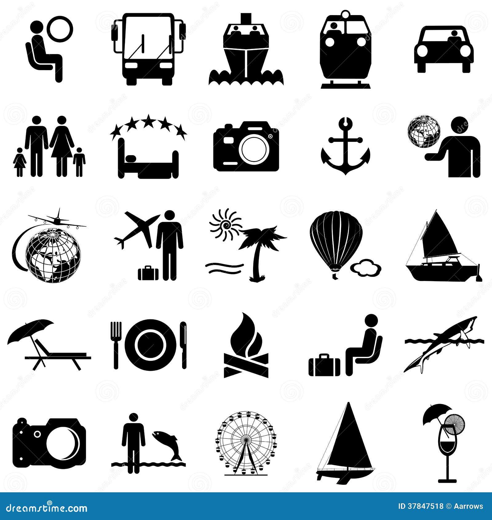 Inkasowe płaskie ikony. Podróż symbole. Wektor