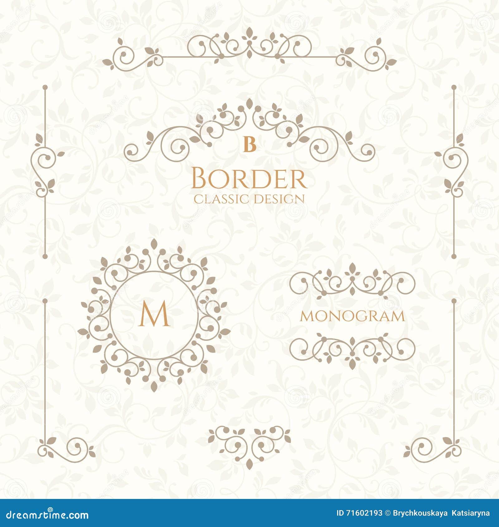 Inkasowi dekoracyjni elementy Granicy, monogramy i bezszwowy wzór,