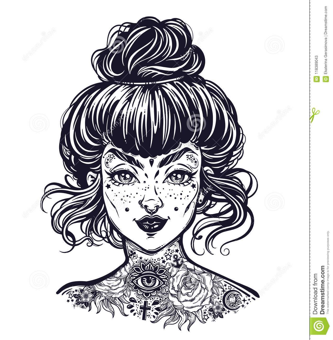 17f78a1a2c899 Inked woman portrait with vintage bun hair, neck flash tattoo. Tattooed  pierced beautiful girl face with freckles. Rockabilly style.