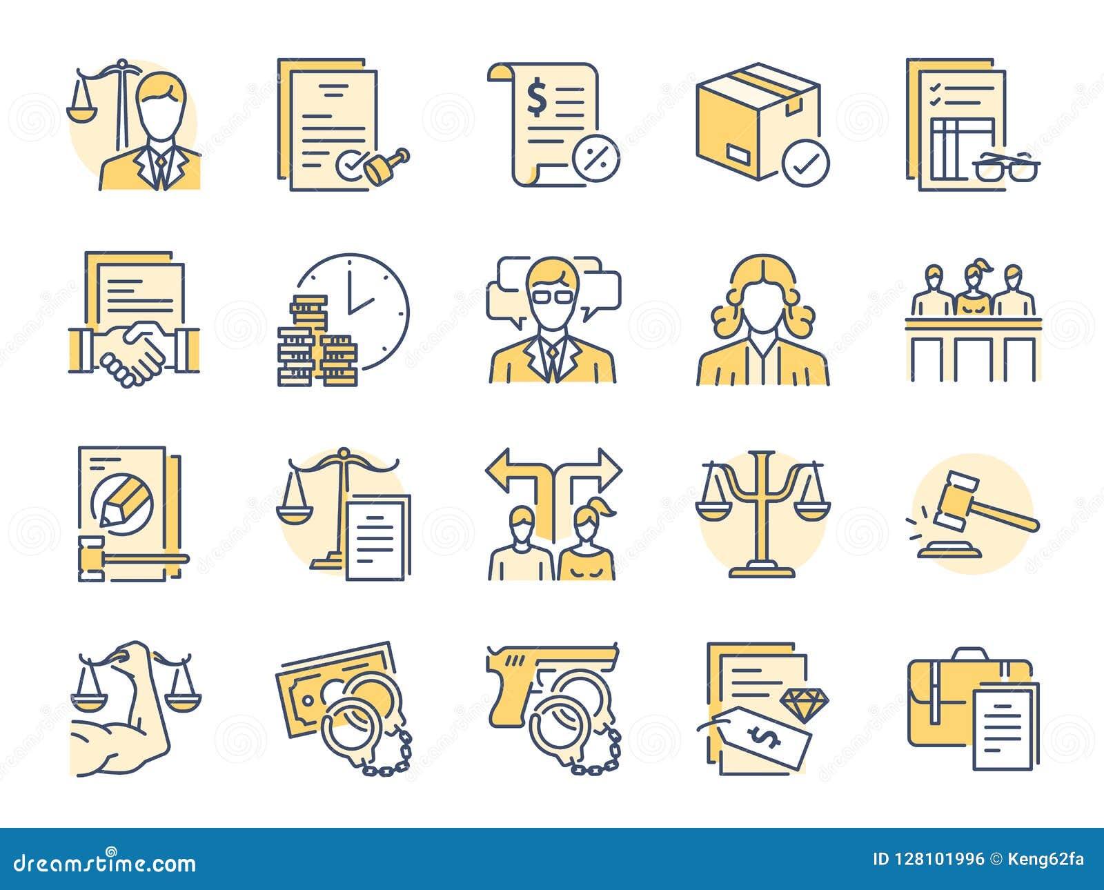 Inklusive symboler som lag, advokaten, domare, domstolen, försvar och mer