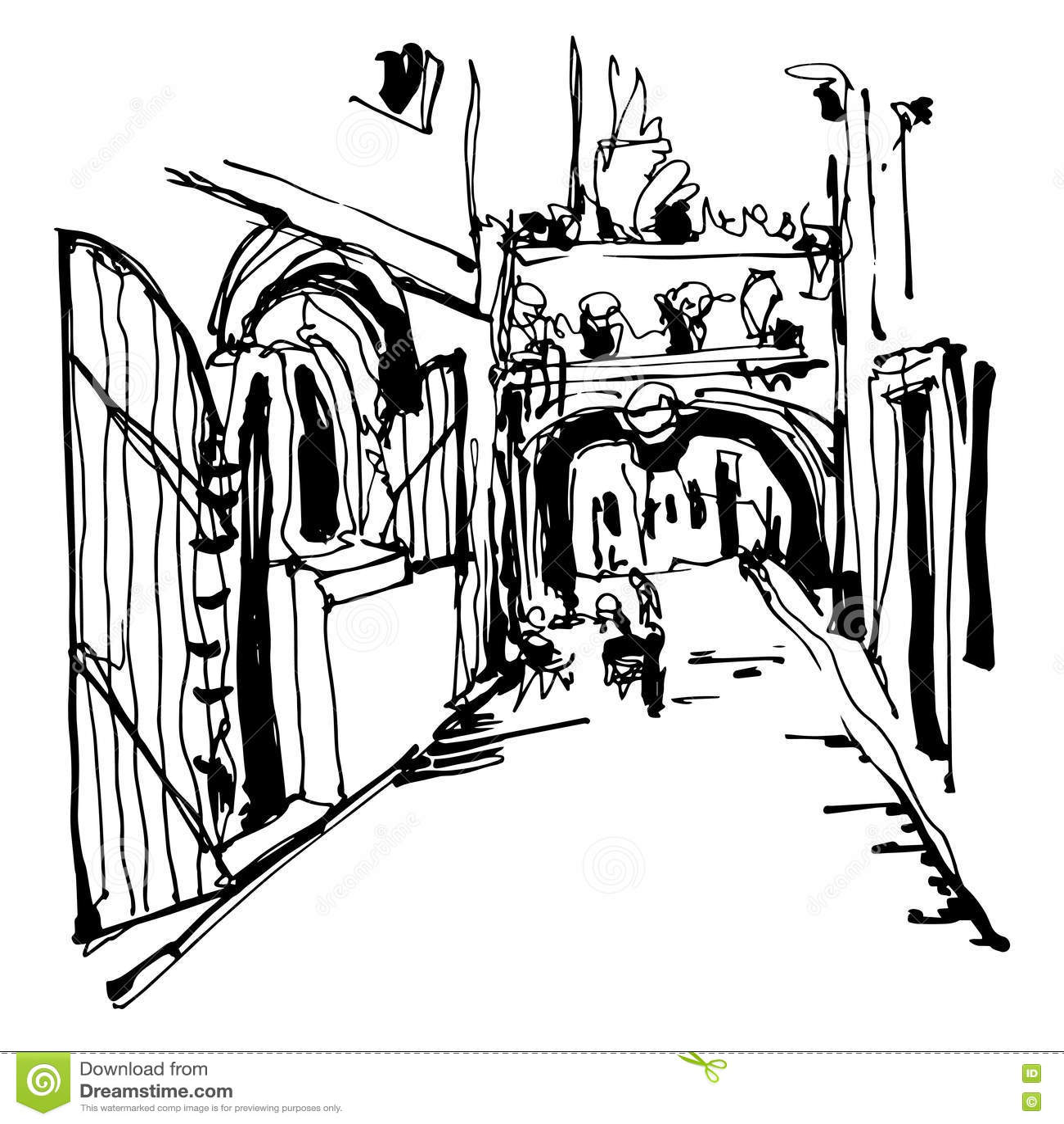 Inkt het schetsen van historische engte cobbled straat in Budva