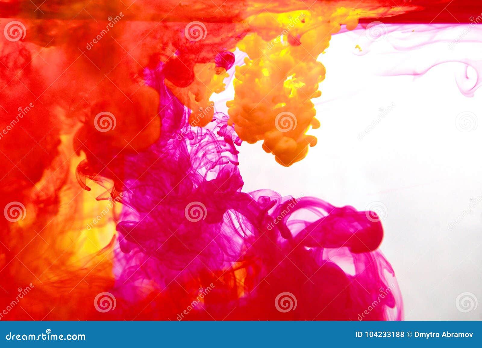 Inkt in water, kleurenabstractie, kleurenexplosie