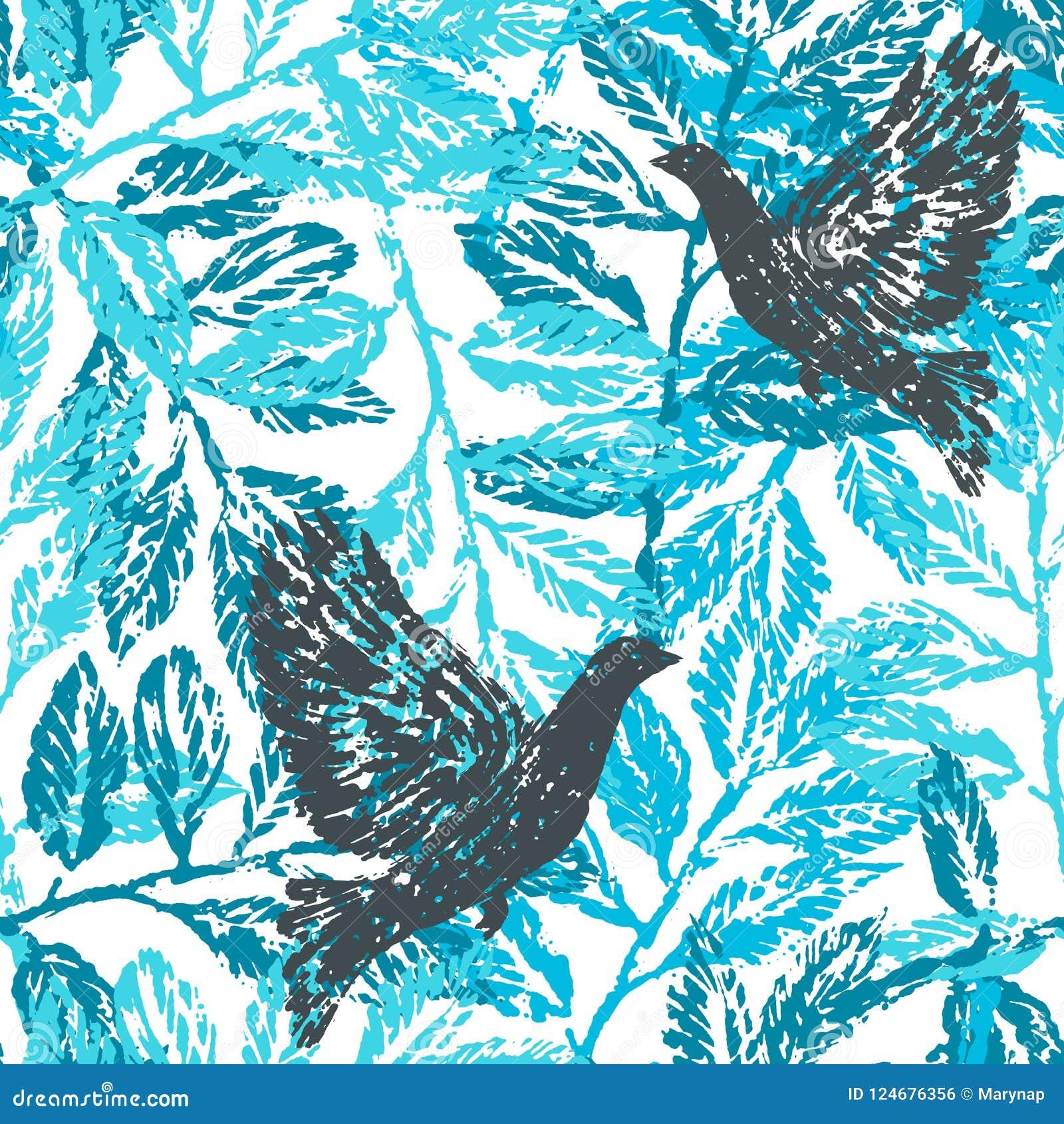 Inkthand getrokken naadloos patroon met lauriertakken en duiven