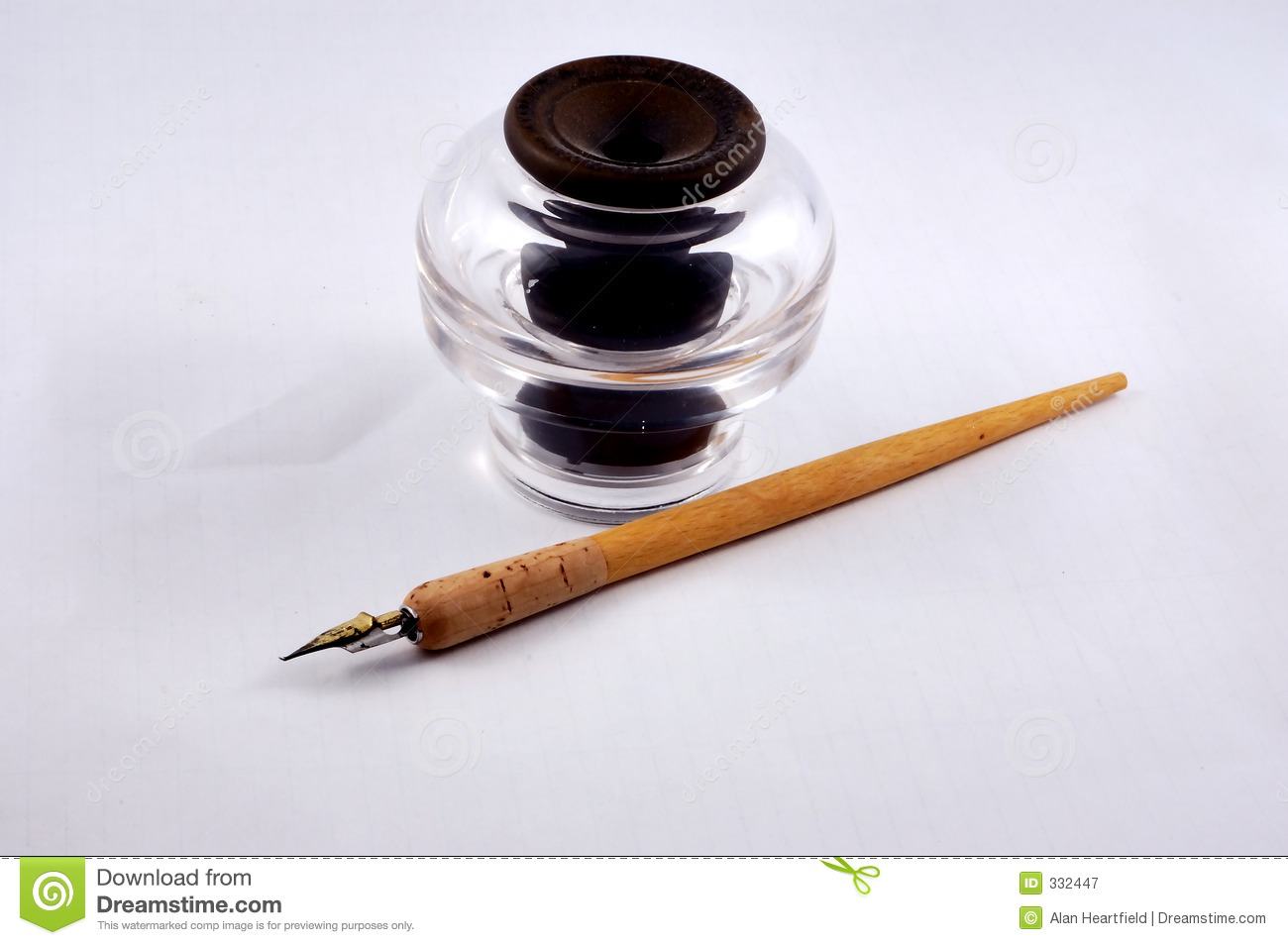 Inkwell and pen stock image. image of fashioned historic 332447