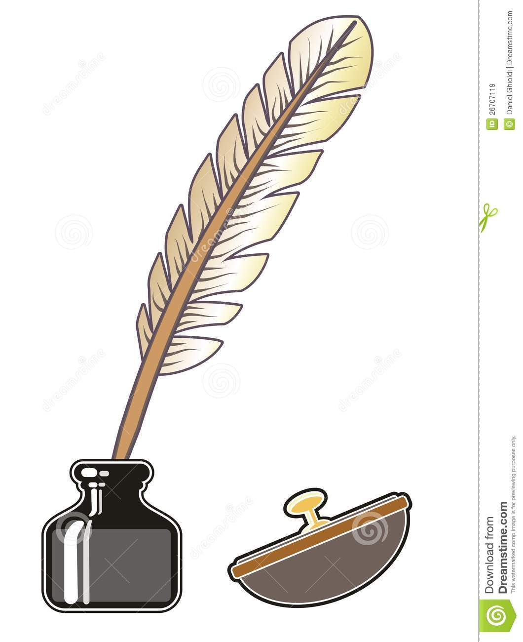 Inkwell and quill stock vector. Illustration of glass ...