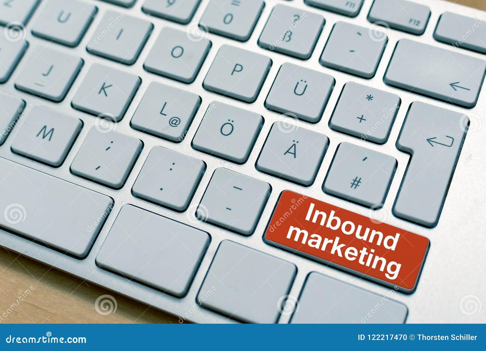 Inlandsmarketing-Knopfknopf geschrieben auf Laptop-Computer Tastatur