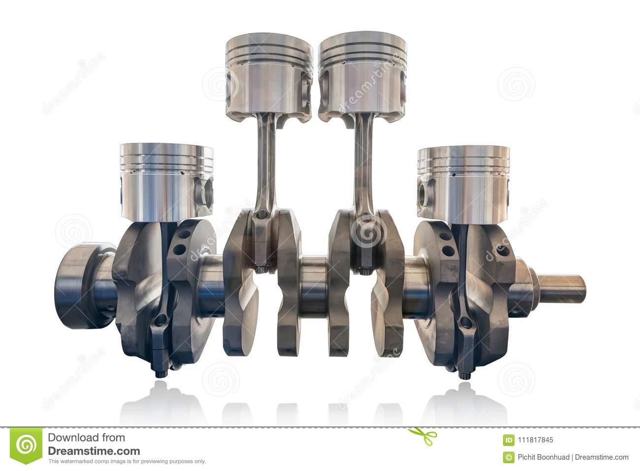 Inline Four Cylinder Ofsel And Gasoline Engine With Crank Shaft Isolate On White Background With