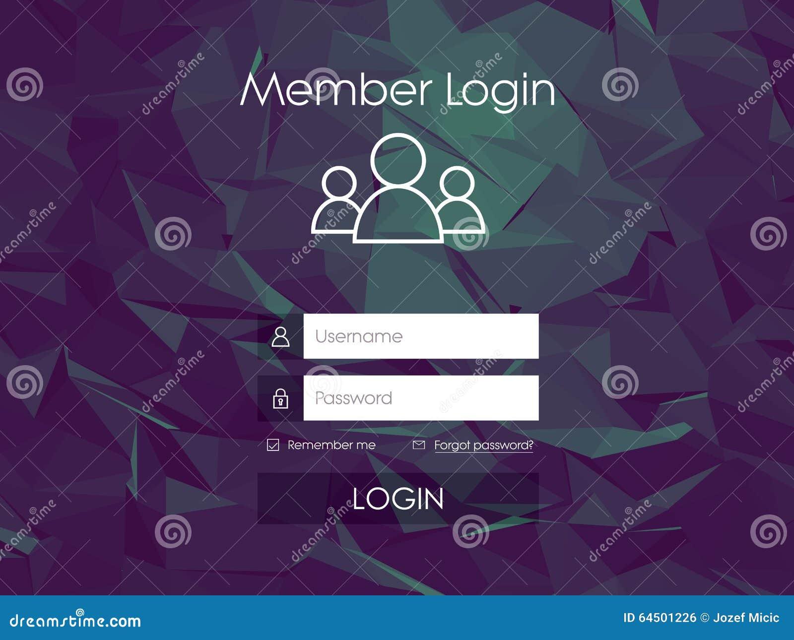 Inloggningsformmeny med den enkla linjen symboler lågt poly
