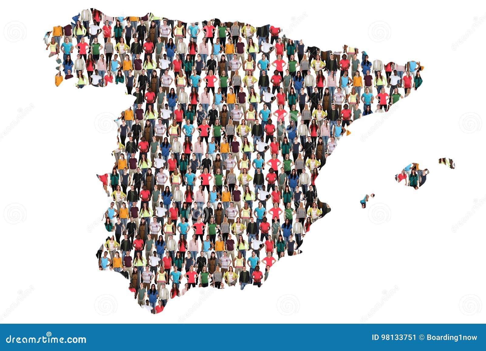 Inmigración multicultural de la integración del grupo de personas del mapa de España