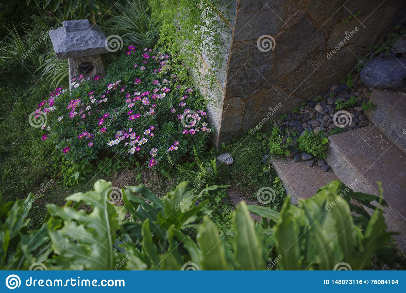 Inn Garden Design Stock Photo Image Of Flowers Garden 148073116