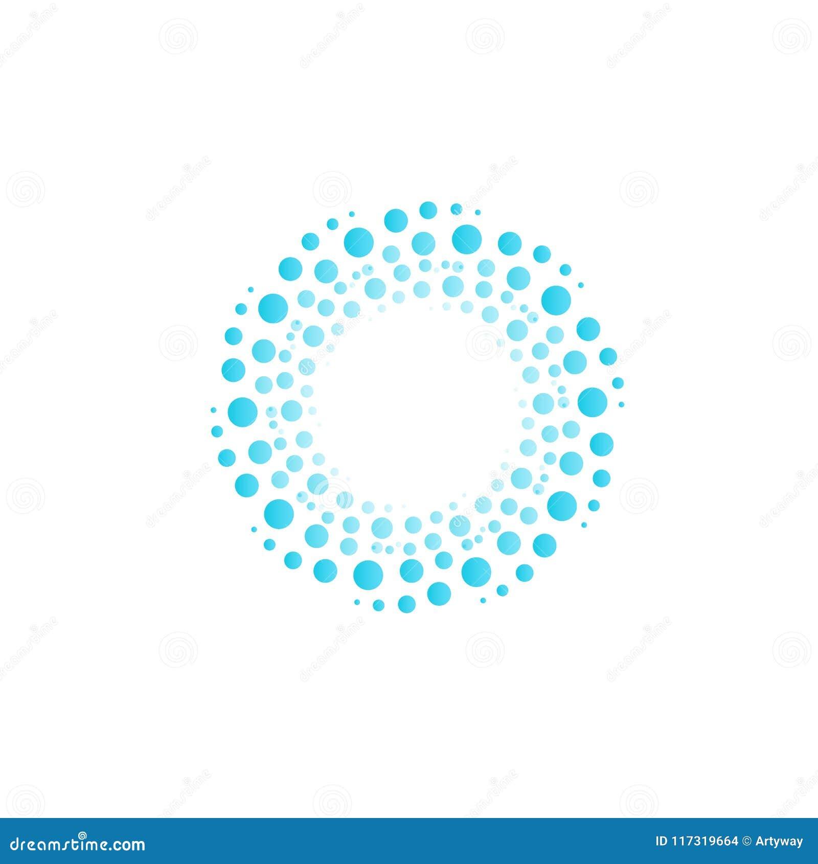 Innaffi il vortice dai cerchi blu, le bolle, gocce Logo astratto di vettore del cerchio