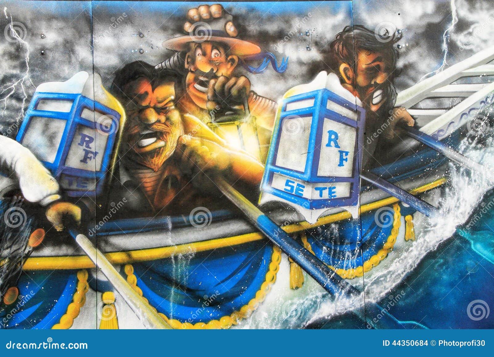 Innaffi la scena Jousting dei graffiti in Sete, Francia