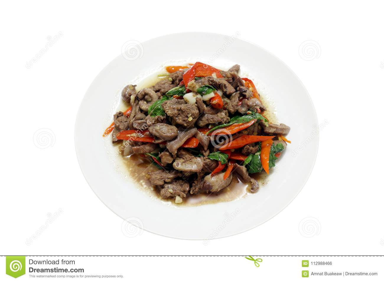 Chicken innards Fried in oyster sauce, spicy food, chili food, Fried vegetable, Fried beef with oyster sauce & Basil leaves on top