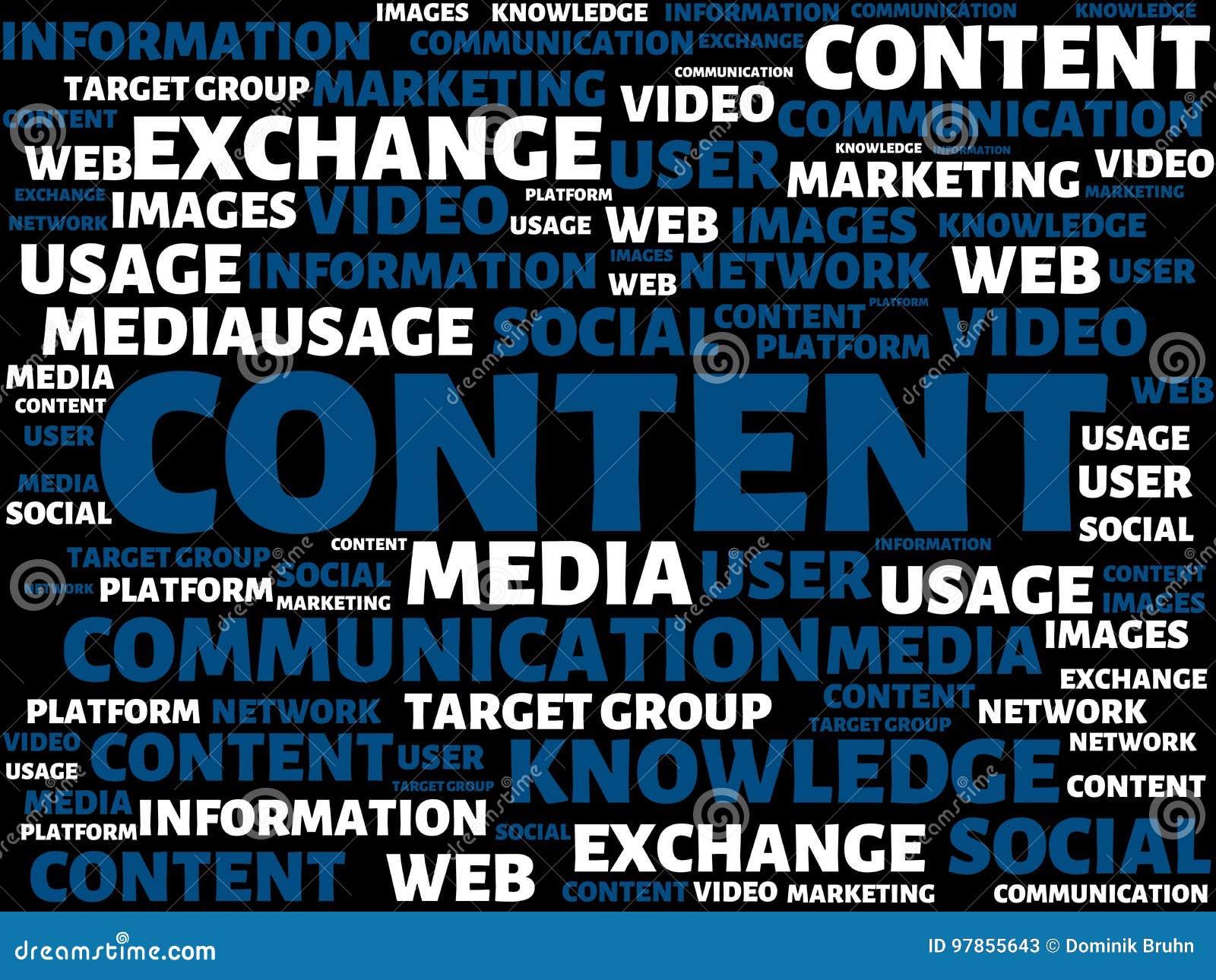 INNEHÅLL - bild med ord som förbinds med det SOCIALA MASSMEDIA för ämne, ord, bild, illustration