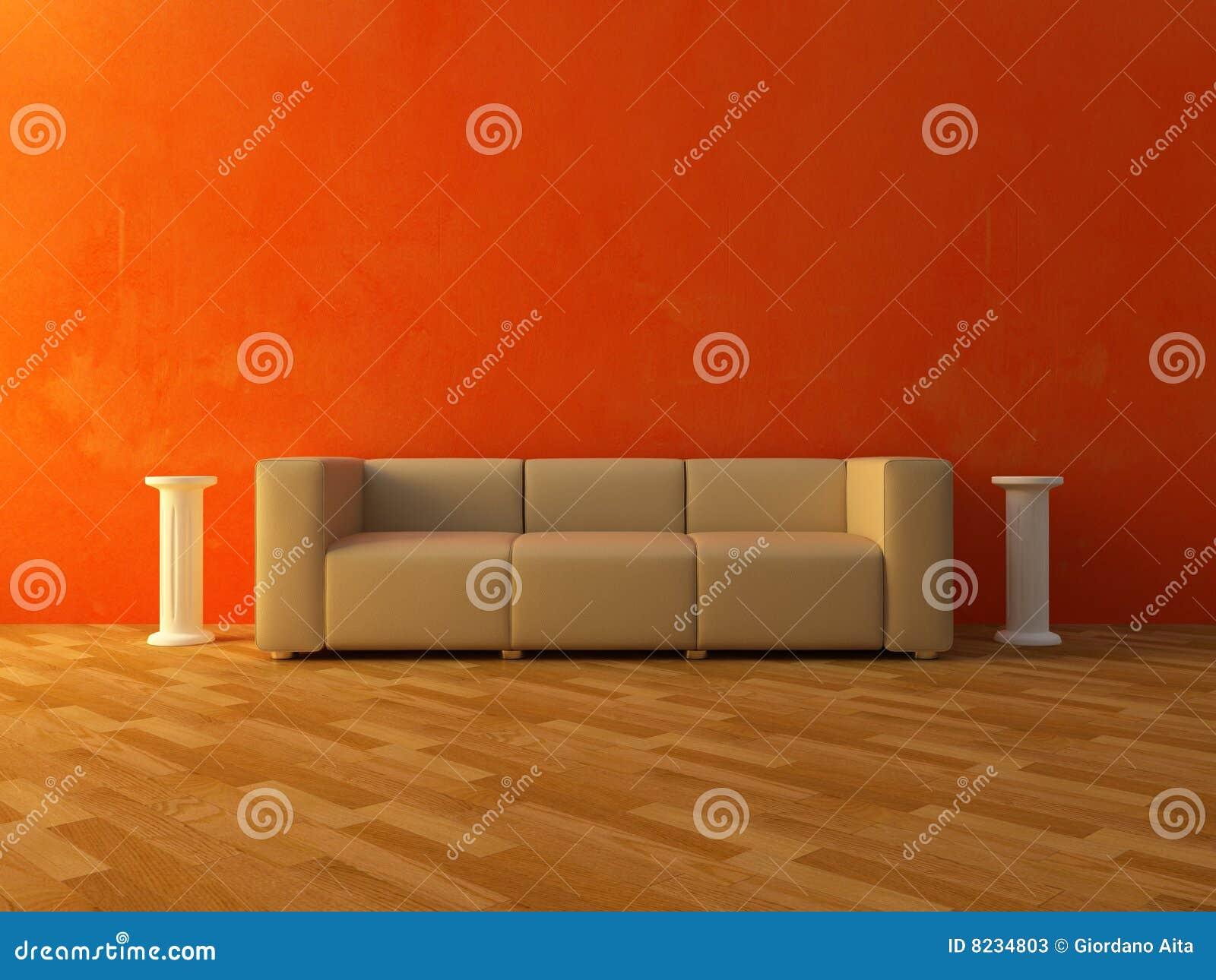 innen bequemes sofa auf roter wand stockfotos bild 8234803. Black Bedroom Furniture Sets. Home Design Ideas
