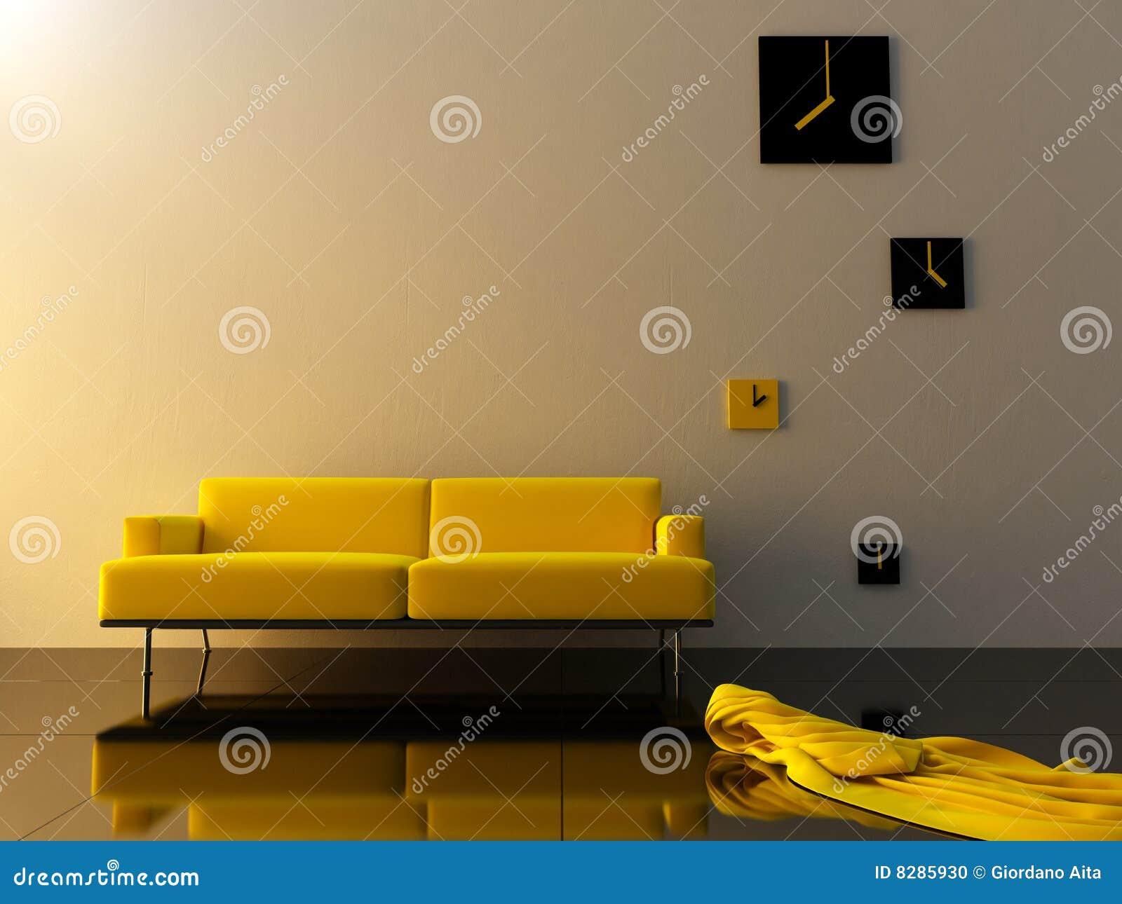 innen gelber samt sofa und zeitzone stoppen ab stock abbildung bild 8285930. Black Bedroom Furniture Sets. Home Design Ideas