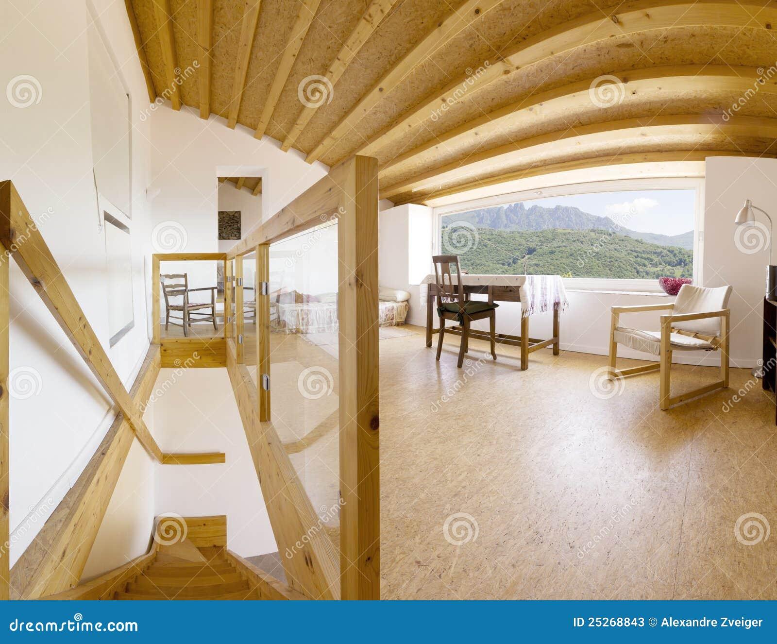 Innen-, modernes Chalet stockbild. Bild von holz, bett - 25268843
