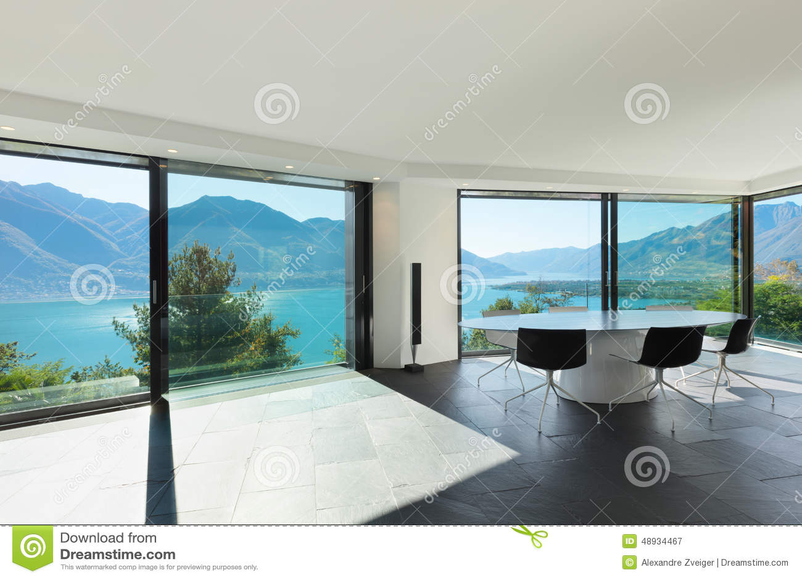 Innen-, Modernes Haus, Esszimmer Stockbild - Bild von modern, sonnig ...
