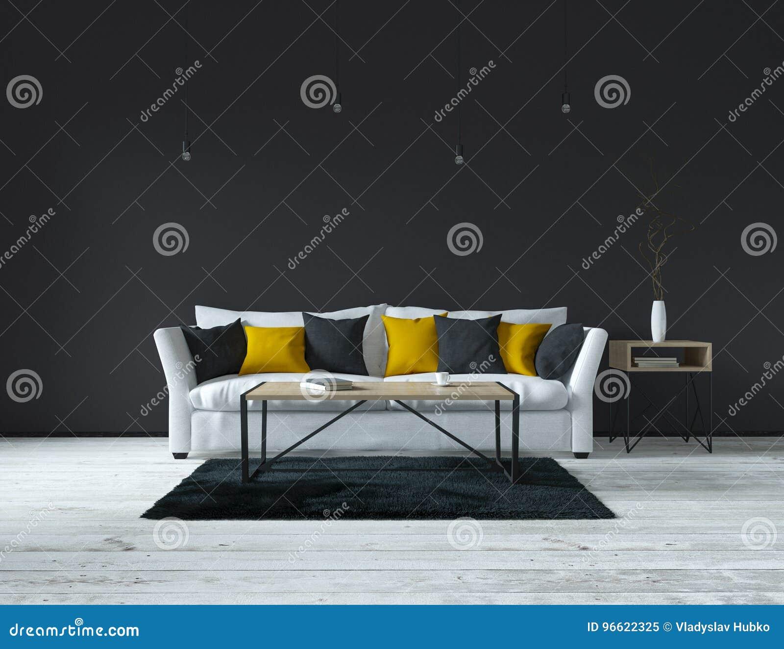 Innen-, Modernes Wohnzimmer Stock Abbildung - Illustration von dekor ...