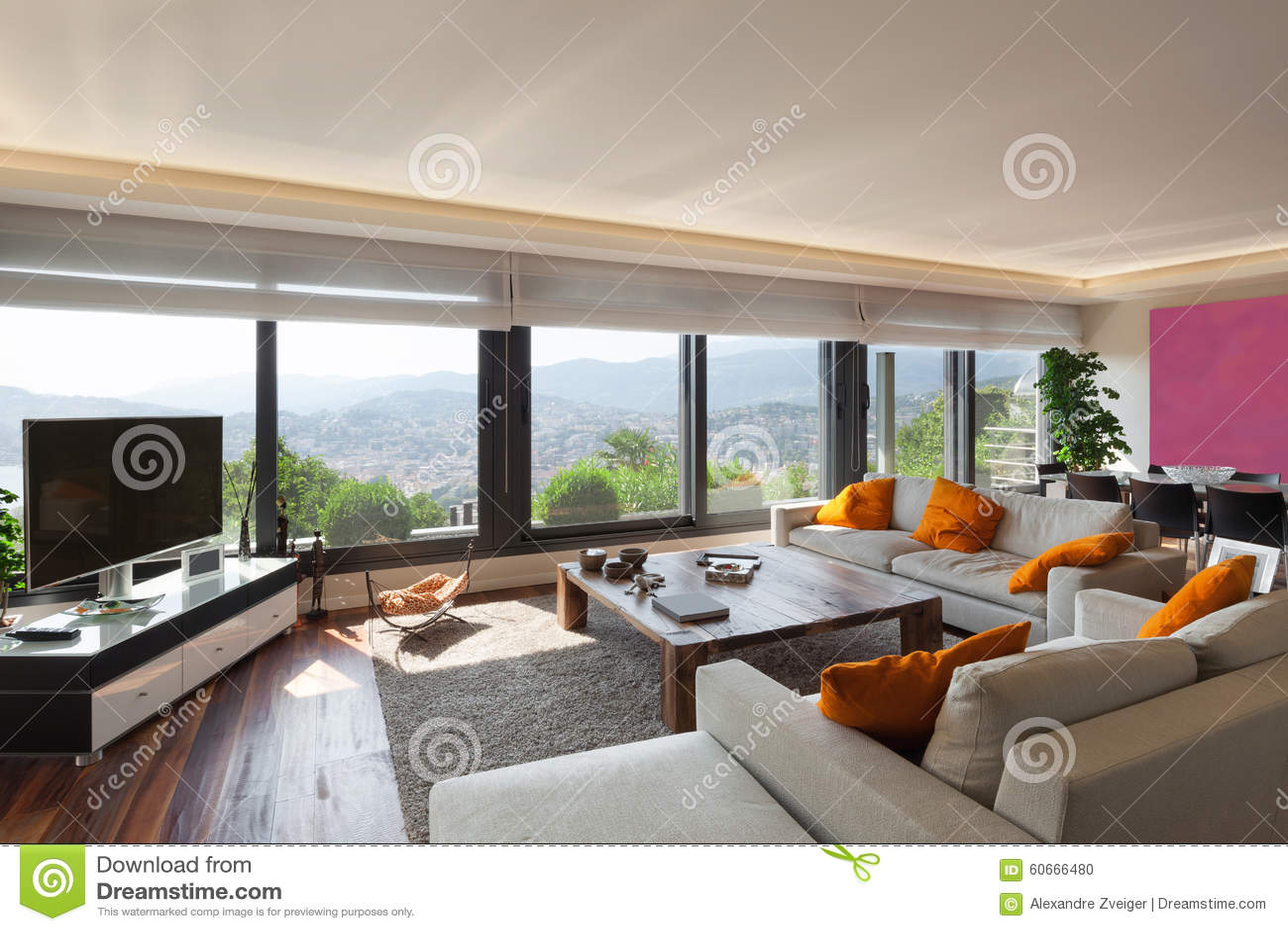 Innen-, schönes Wohnzimmer stockfoto. Bild von leben - 60666480