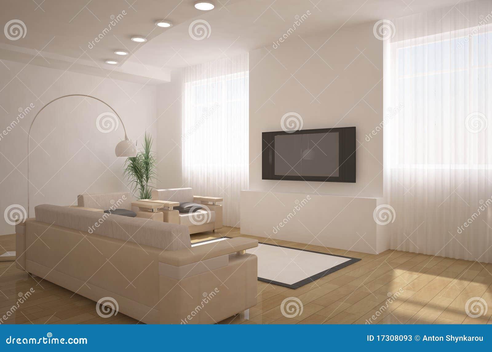 Innenarchitektur 3d mit fernsehapparat auf einer wand