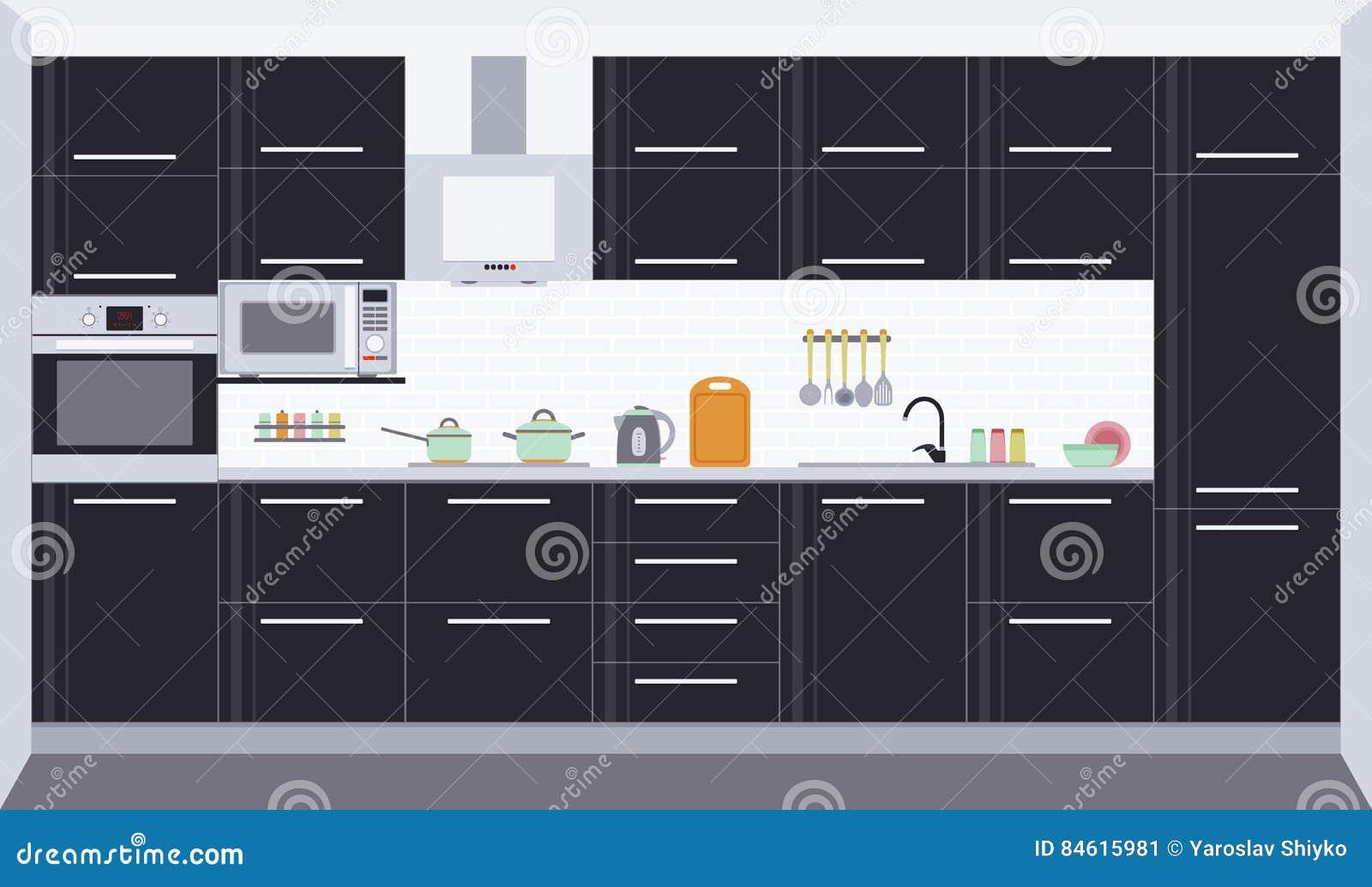 Innenarchitektur Der Küche Front View Vektor Abbildung ...