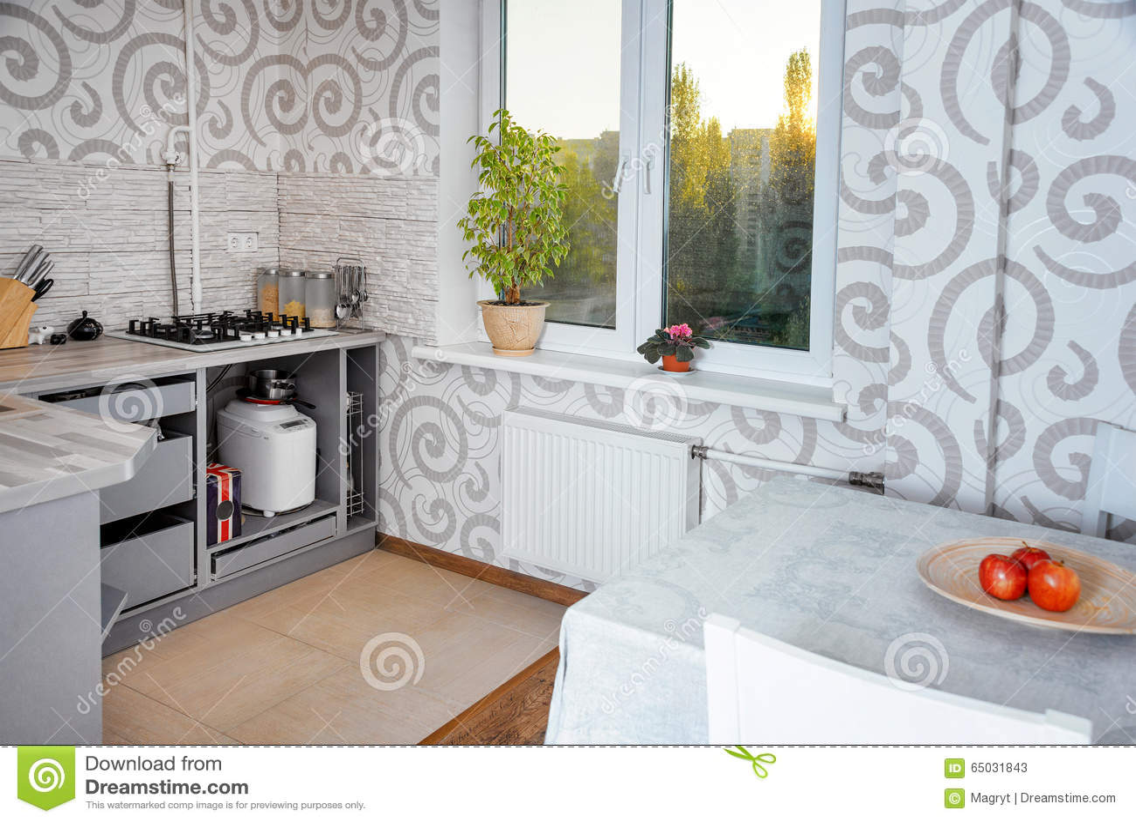 Innenarchitektur Der Modernen Einfachen Küche In Den Hellen ...
