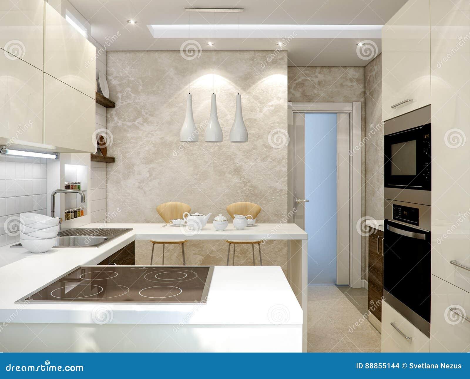 Innenarchitektur Der Modernen Küche Mit Den Weißen Und Hölzernen Fassaden