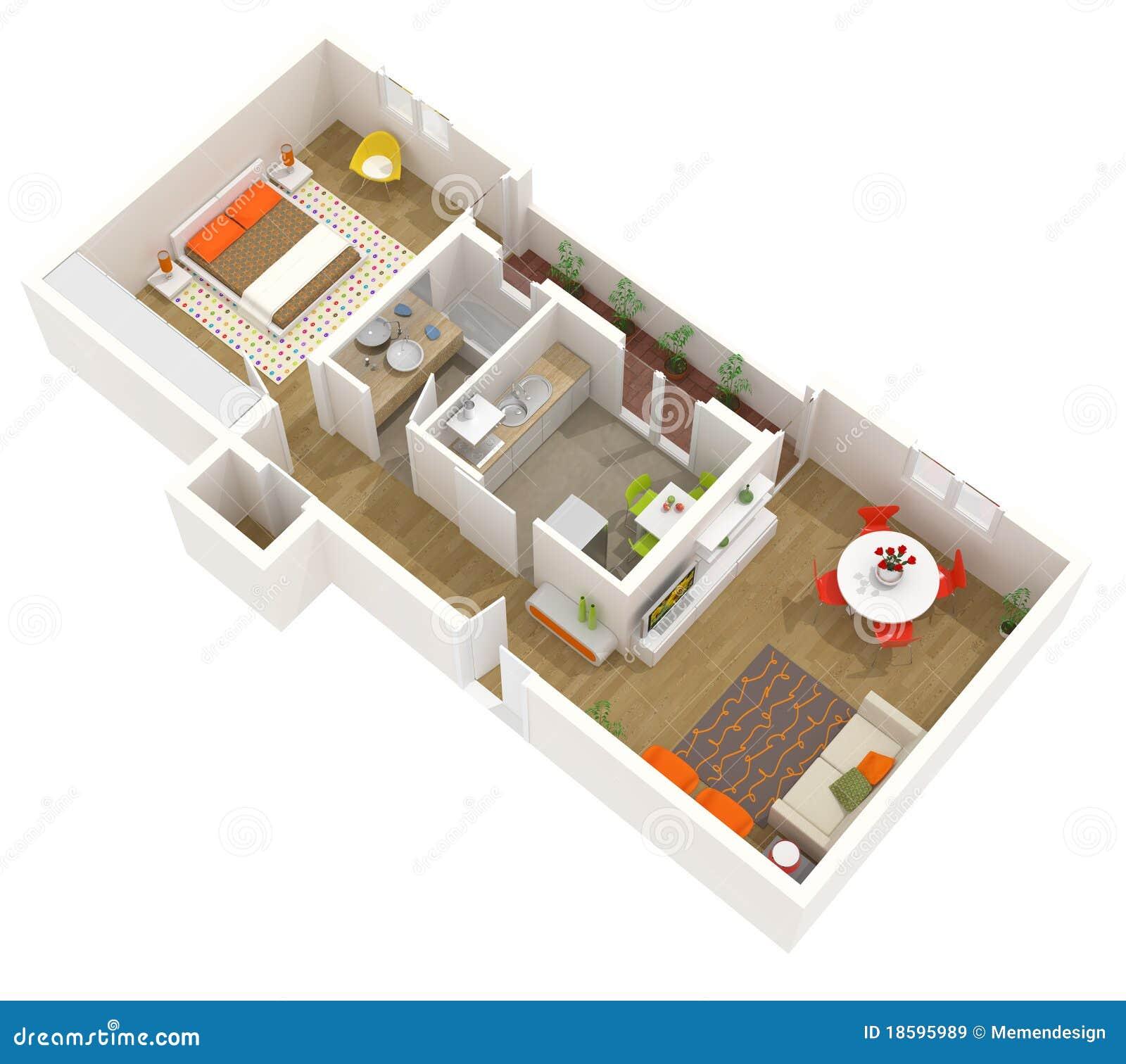 innenarchitektur der wohnung - plan des fußbodens 3d lizenzfreie, Innenarchitektur ideen