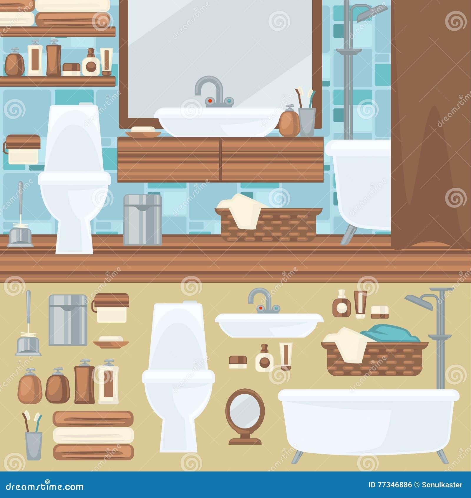Innenarchitektur Des Badezimmers Zubehör Und Möbelsatz Vektor ...