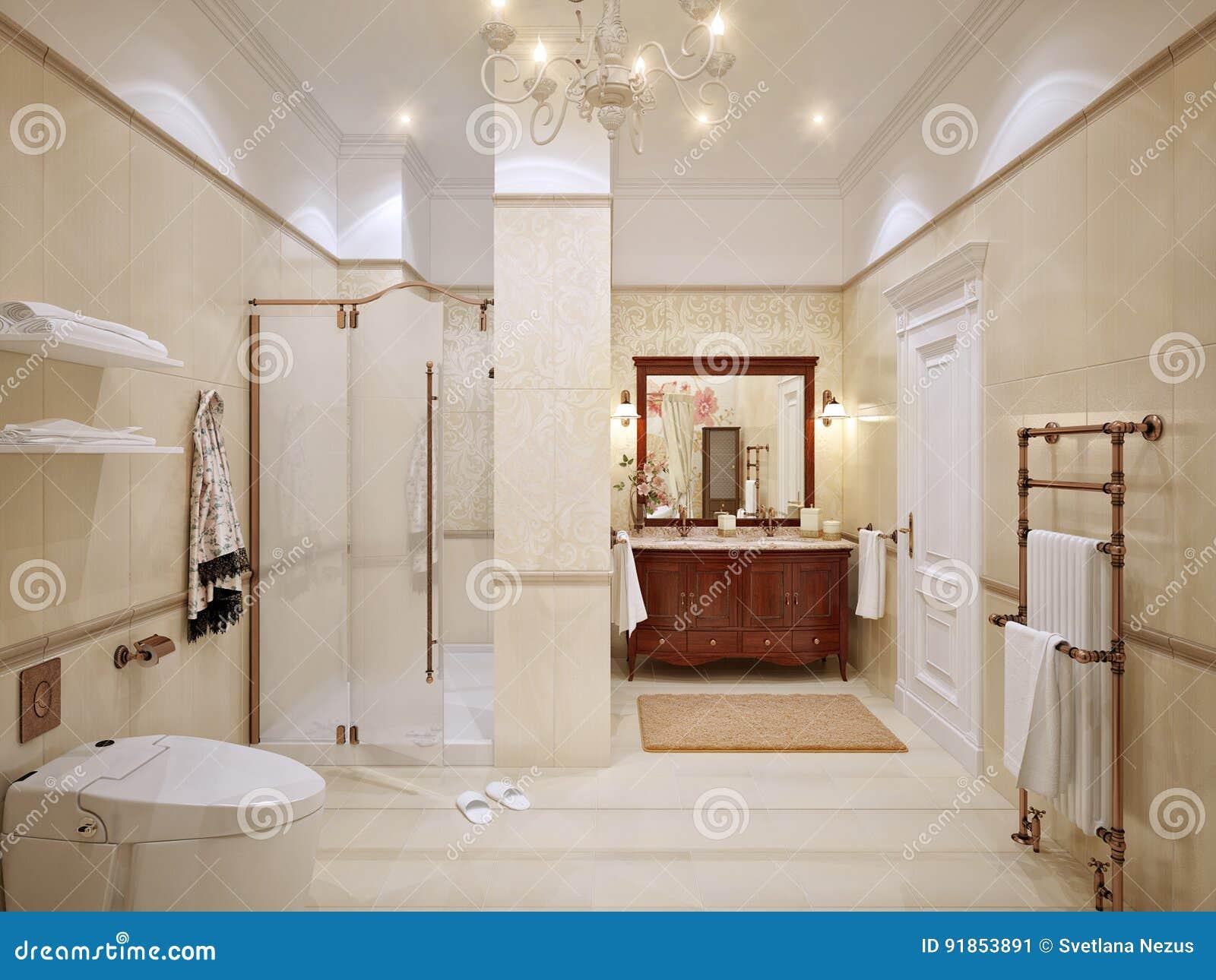 Innenarchitektur Des Klassischen Badezimmers Mit Gold Und ...