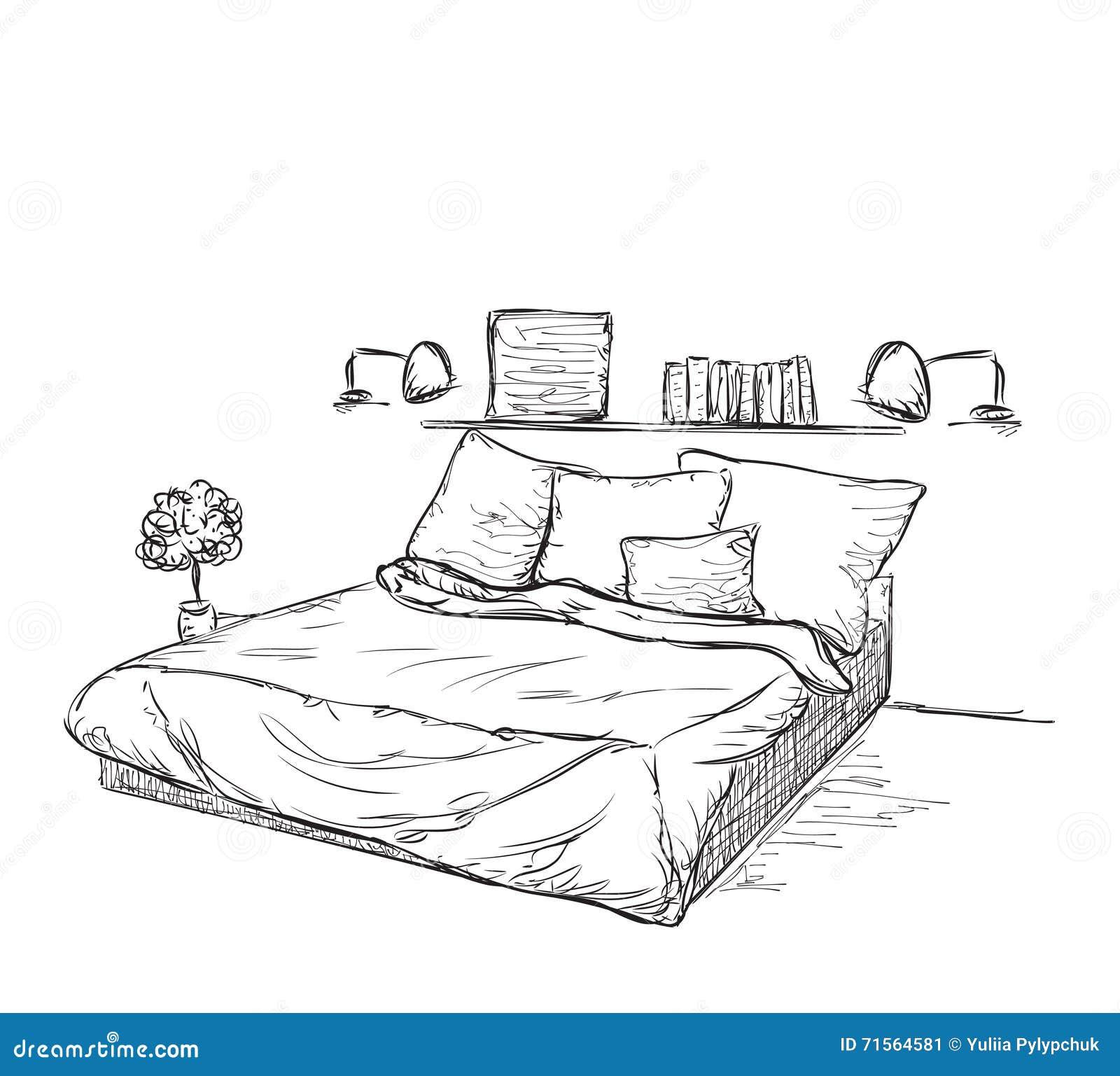 Innenarchitektur Des Klassischen Schlafzimmers Vektor Abbildung